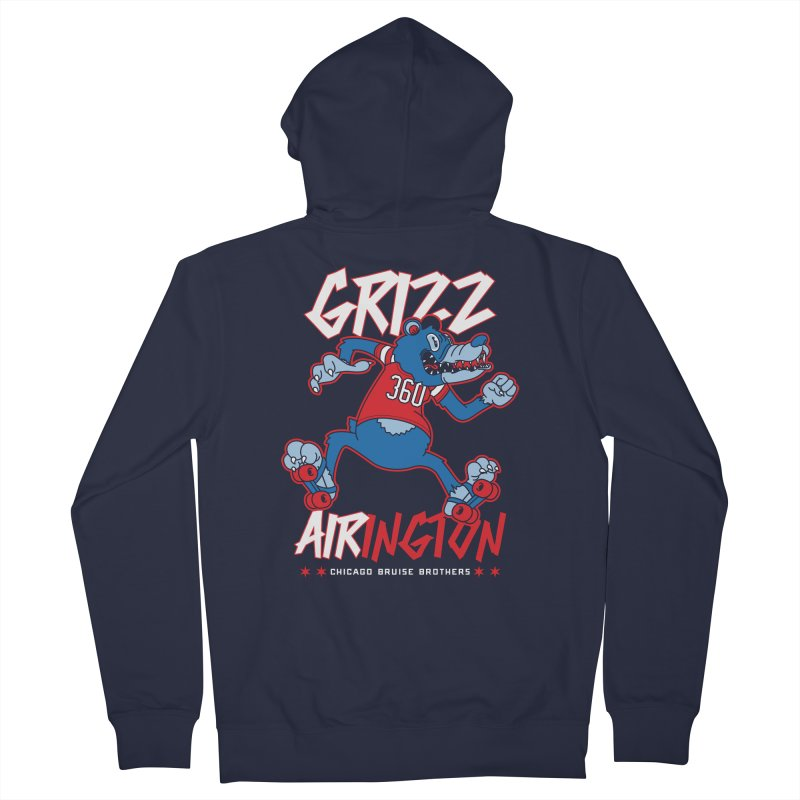 Skater Series: Grizz AIRington Men's French Terry Zip-Up Hoody by Chicago Bruise Brothers Roller Derby