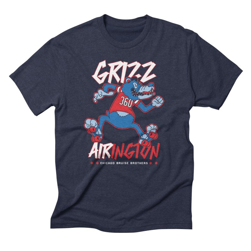 Skater Series: Grizz AIRington Men's Triblend T-Shirt by Chicago Bruise Brothers Roller Derby