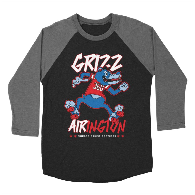 Skater Series: Grizz AIRington Women's Baseball Triblend Longsleeve T-Shirt by Chicago Bruise Brothers Roller Derby