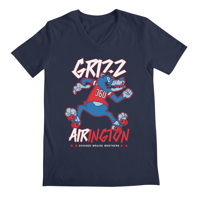 Skater Series: Grizz AIRington Men's Regular V-Neck by Chicago Bruise Brothers Roller Derby