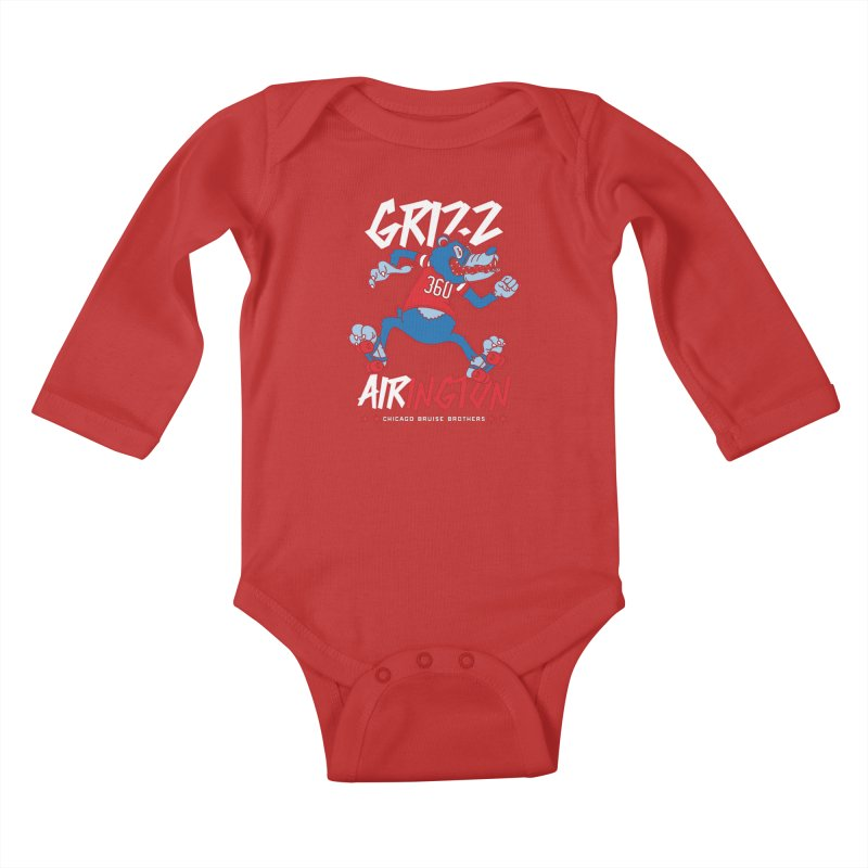 Skater Series: Grizz AIRington Kids Baby Longsleeve Bodysuit by Chicago Bruise Brothers Roller Derby
