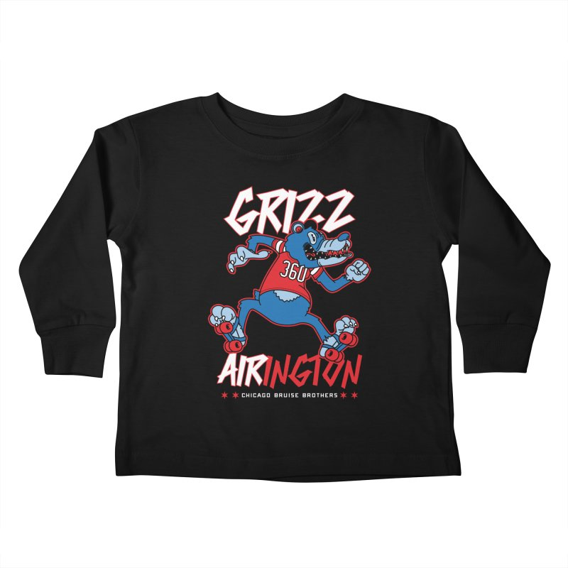Skater Series: Grizz AIRington Kids Toddler Longsleeve T-Shirt by Chicago Bruise Brothers Roller Derby