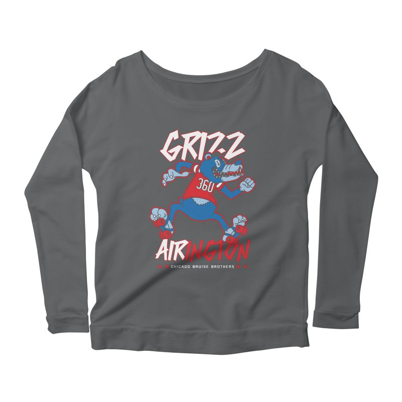 Skater Series: Grizz AIRington Women's Scoop Neck Longsleeve T-Shirt by Chicago Bruise Brothers Roller Derby