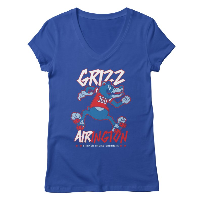 Skater Series: Grizz AIRington Women's Regular V-Neck by Chicago Bruise Brothers Roller Derby