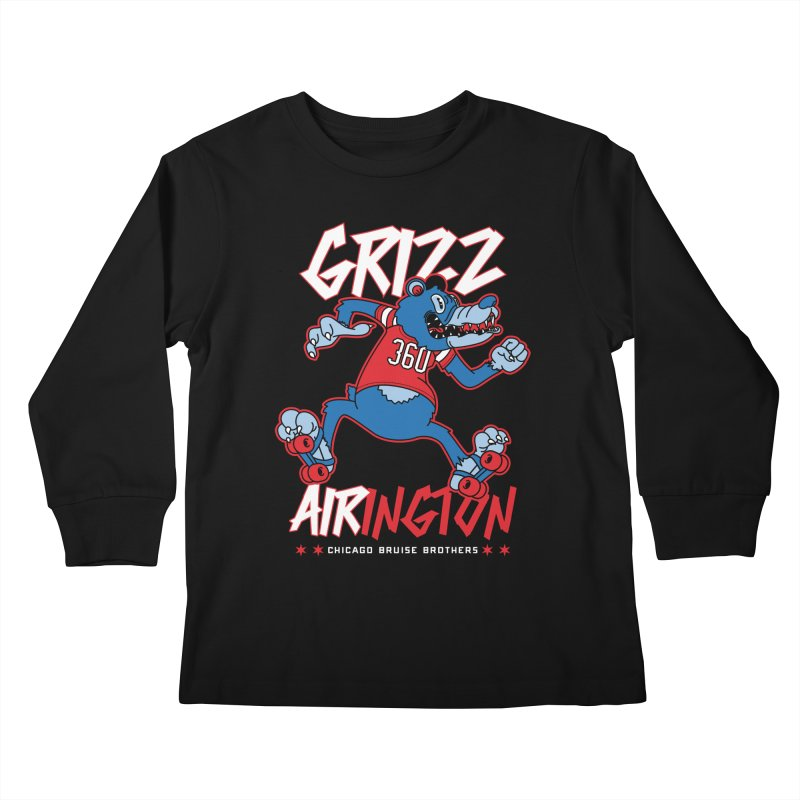 Skater Series: Grizz AIRington Kids Longsleeve T-Shirt by Chicago Bruise Brothers Roller Derby