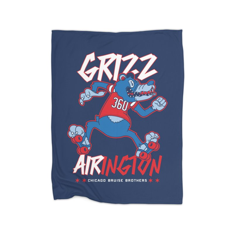 Skater Series: Grizz AIRington Home Fleece Blanket Blanket by Chicago Bruise Brothers Roller Derby