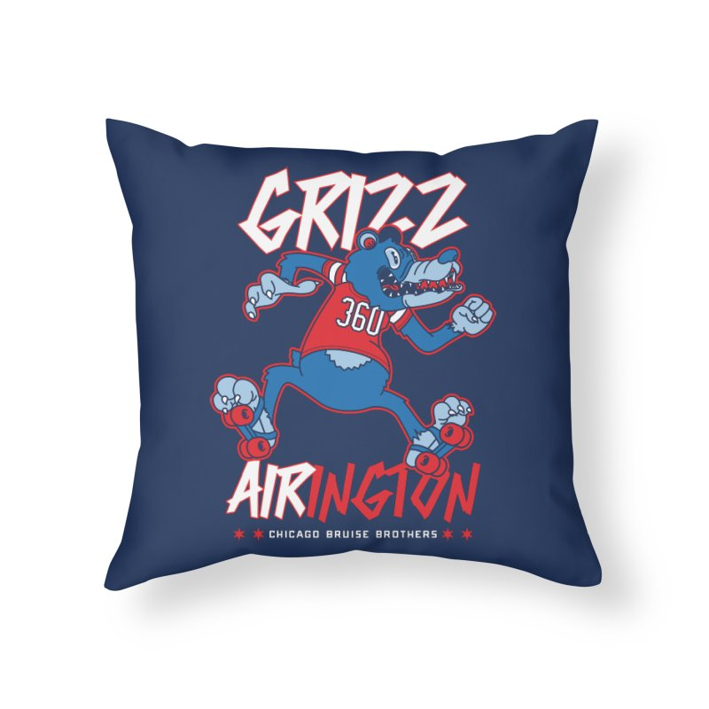 Skater Series: Grizz AIRington Home Throw Pillow by Chicago Bruise Brothers Roller Derby
