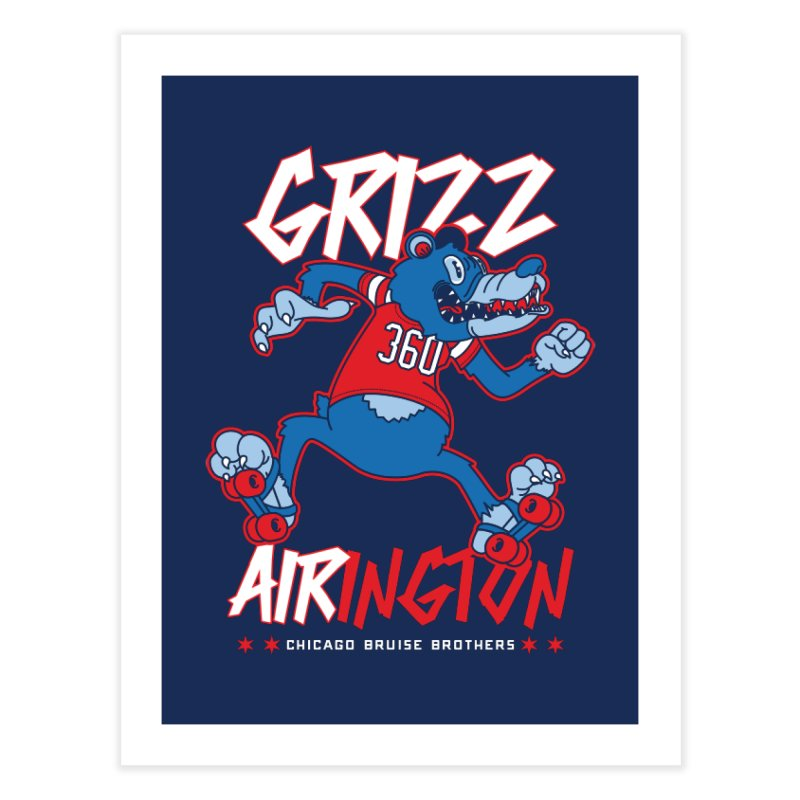 Skater Series: Grizz AIRington Home Fine Art Print by Chicago Bruise Brothers Roller Derby