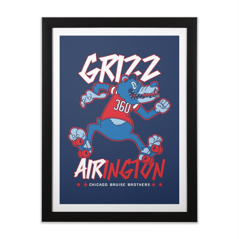 Skater Series: Grizz AIRington Home Framed Fine Art Print by Chicago Bruise Brothers Roller Derby