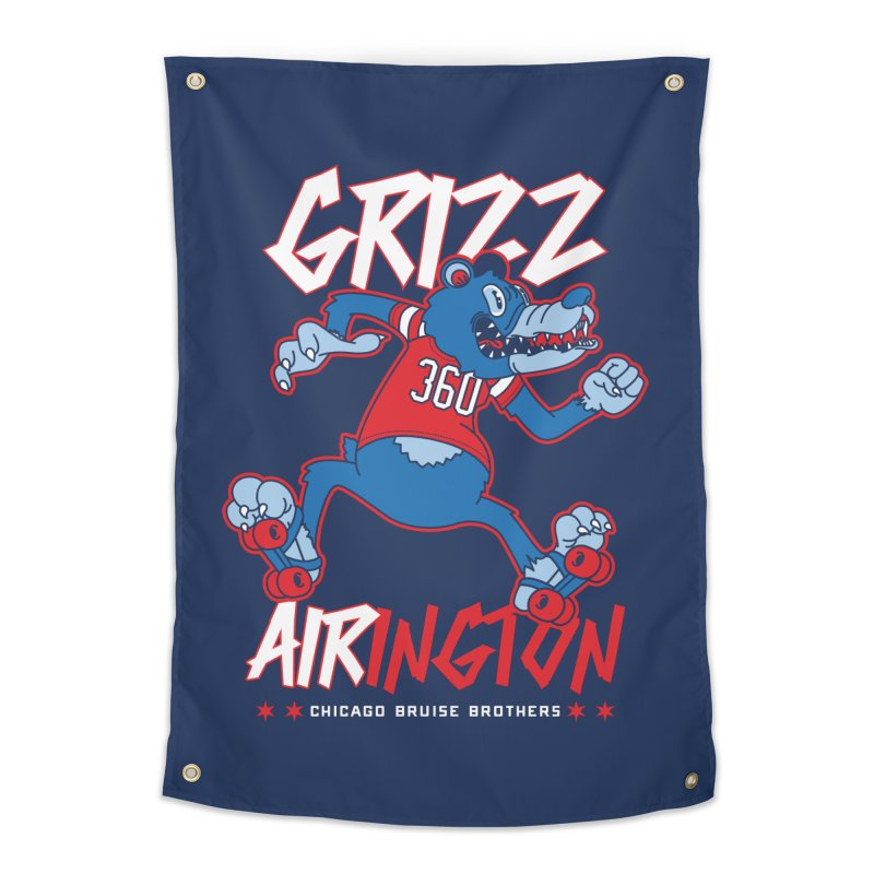 Skater Series: Grizz AIRington Home Tapestry by Chicago Bruise Brothers Roller Derby