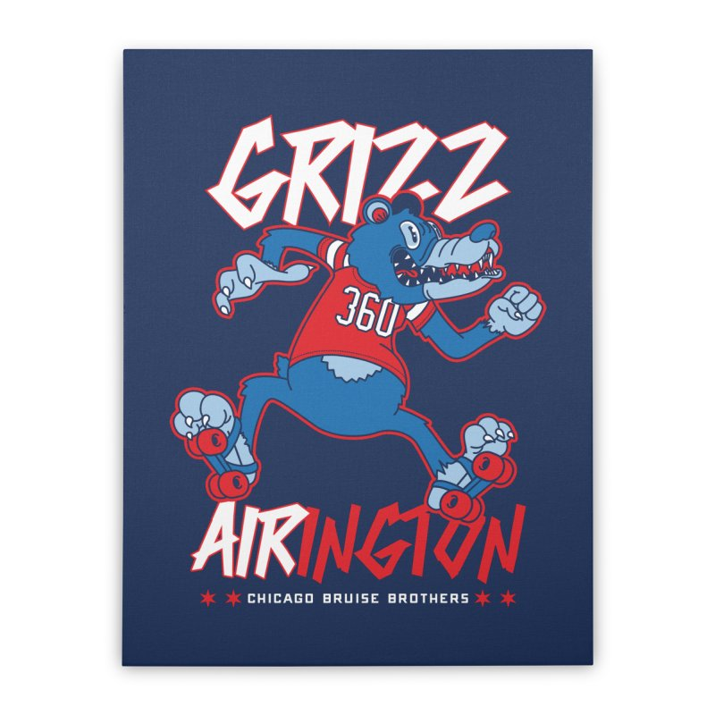 Skater Series: Grizz AIRington Home Stretched Canvas by Chicago Bruise Brothers Roller Derby