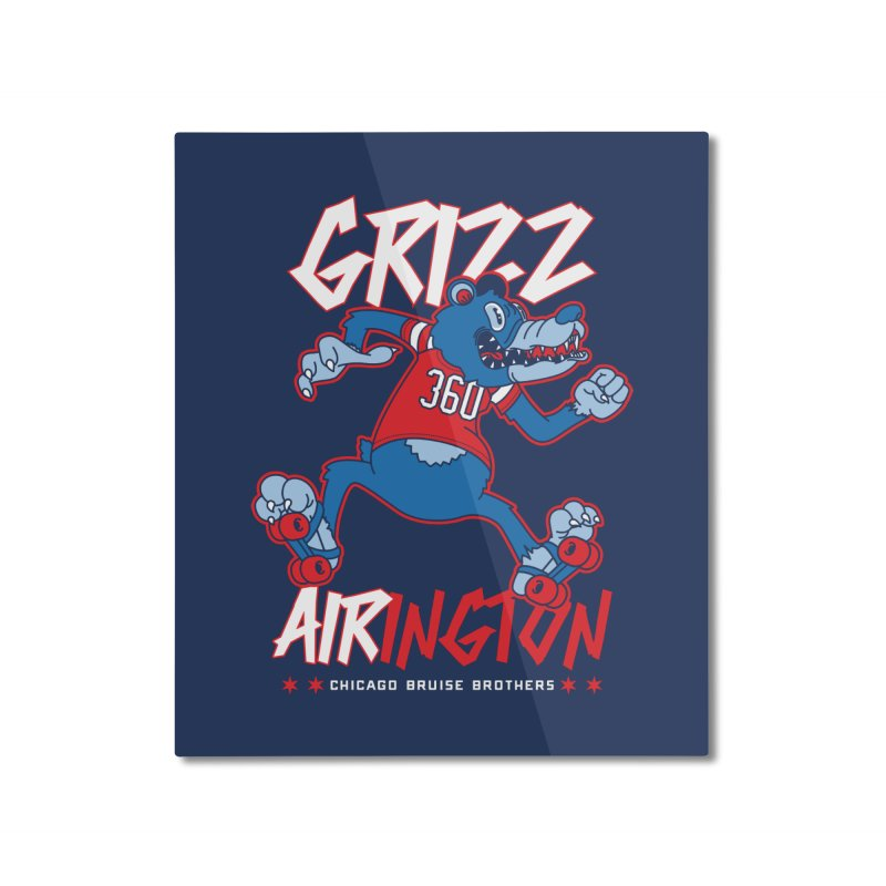 Skater Series: Grizz AIRington Home Mounted Aluminum Print by Chicago Bruise Brothers Roller Derby