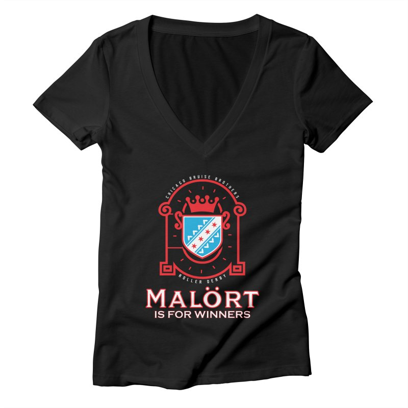 Malört is for Winners Women's V-Neck by Chicago Bruise Brothers Roller Derby
