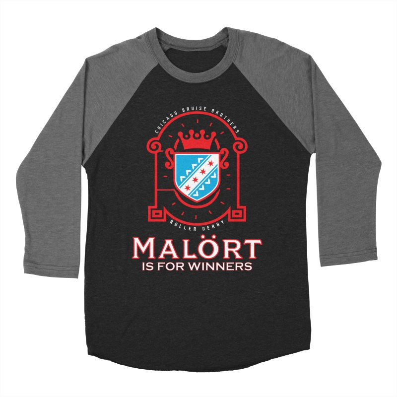 Malört is for Winners Men's Baseball Triblend Longsleeve T-Shirt by Chicago Bruise Brothers Roller Derby