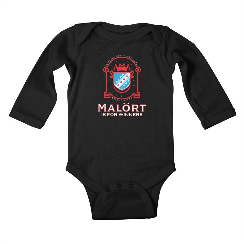 Malört is for Winners Kids Baby Longsleeve Bodysuit by Chicago Bruise Brothers Roller Derby