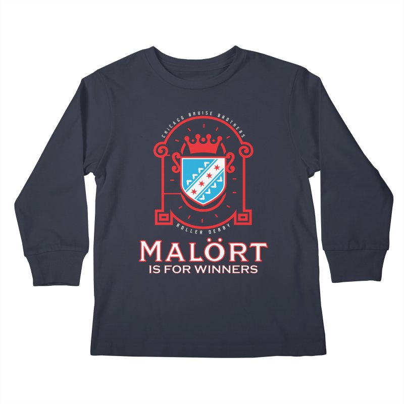 Malört is for Winners Kids Longsleeve T-Shirt by Chicago Bruise Brothers Roller Derby