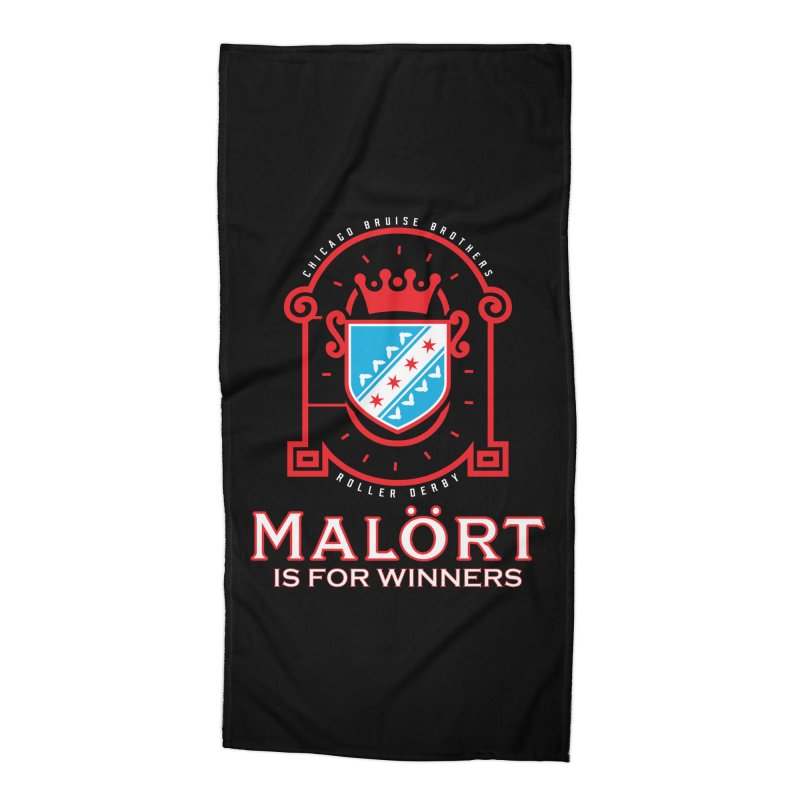Malört is for Winners Accessories Beach Towel by Chicago Bruise Brothers Roller Derby