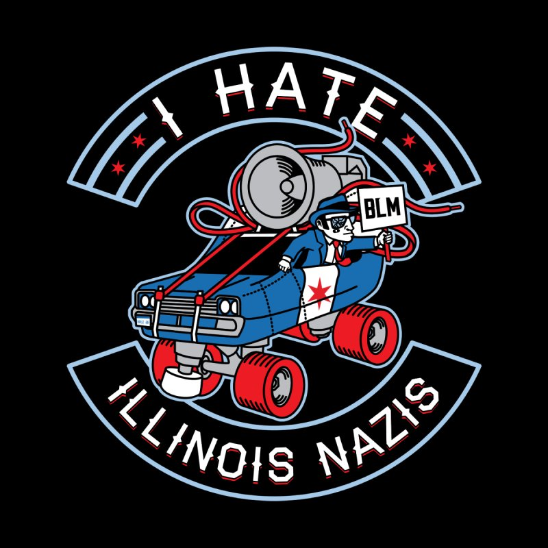 I HATE ILLINOIS NAZIS Men's T-Shirt by Chicago Bruise Brothers Roller Derby