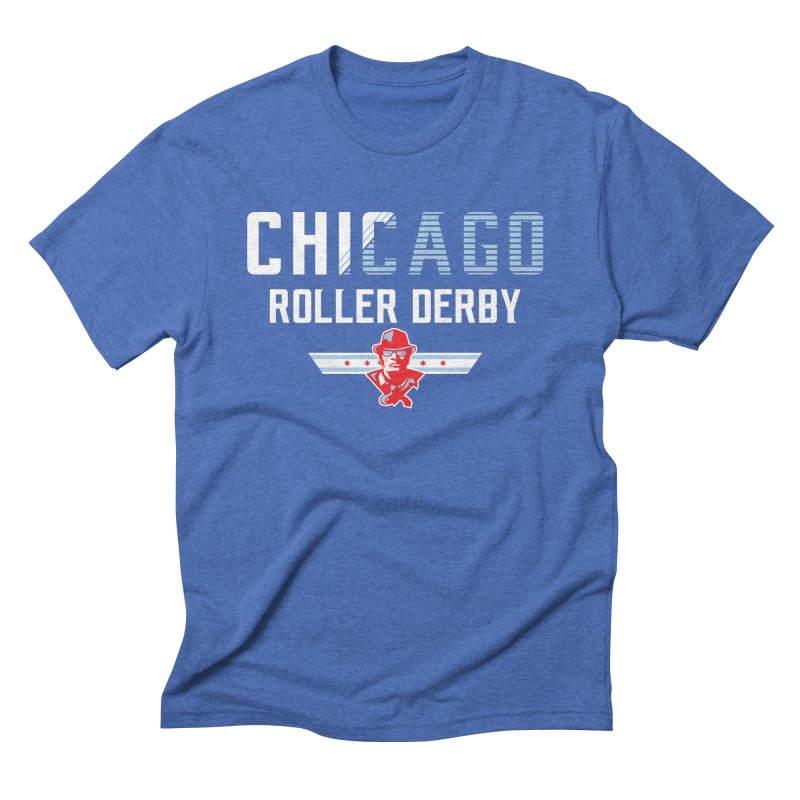 Chicago Roller Derby in Men's Triblend T-Shirt Blue Triblend by Chicago Bruise Brothers Roller Derby
