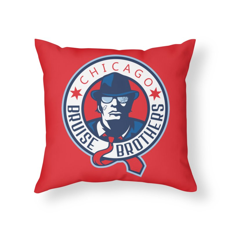 Bruise Brothers (Primary Logo) Home Throw Pillow by Chicago Bruise Brothers Roller Derby