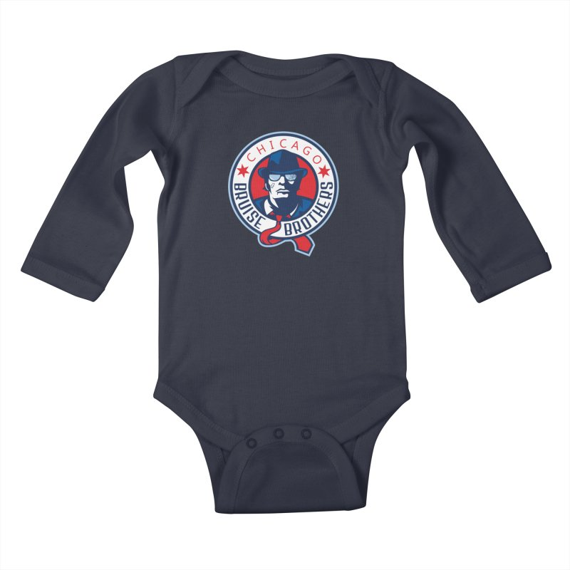 Bruise Brothers (Primary Logo) Kids Baby Longsleeve Bodysuit by Chicago Bruise Brothers Roller Derby