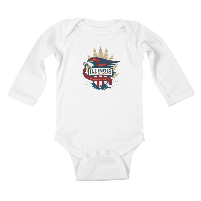 Team Illinois Kids Baby Longsleeve Bodysuit by Chicago Bruise Brothers Roller Derby