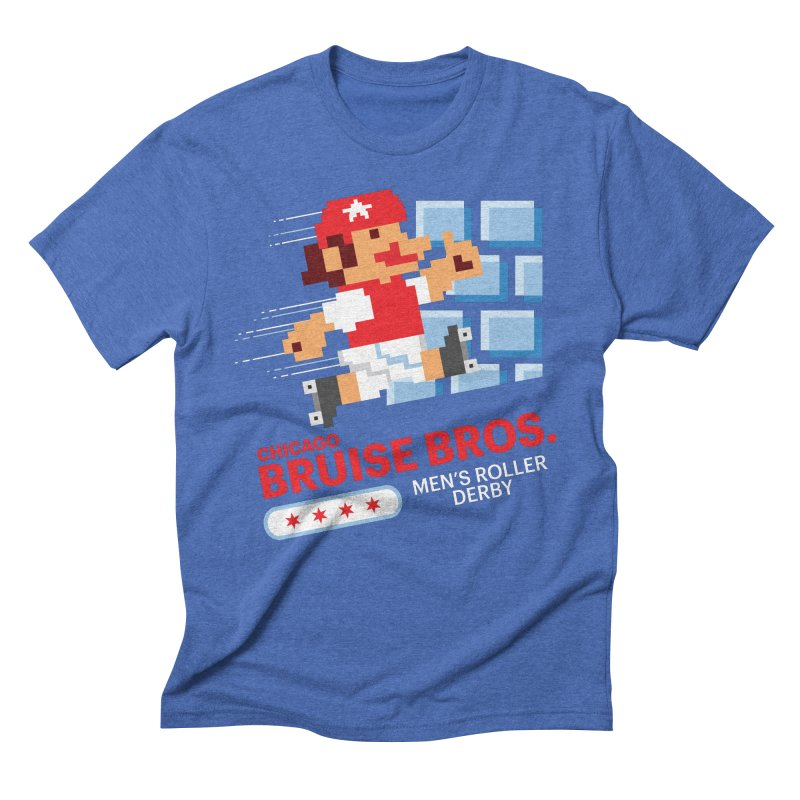 Super Bros. Men's Triblend T-Shirt by Chicago Bruise Brothers Roller Derby