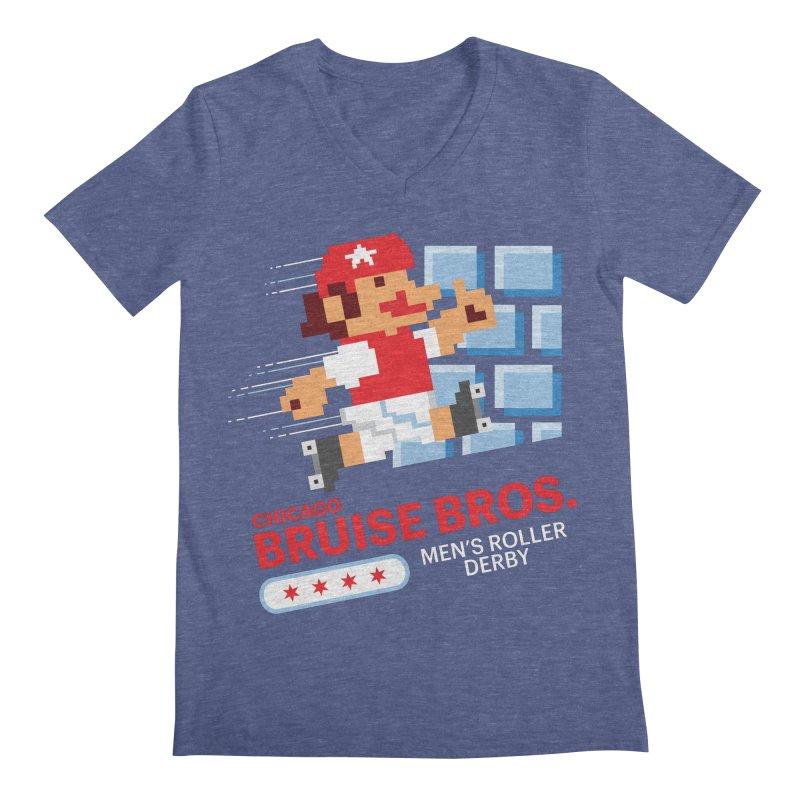 Super Bros. Men's Regular V-Neck by Chicago Bruise Brothers Roller Derby