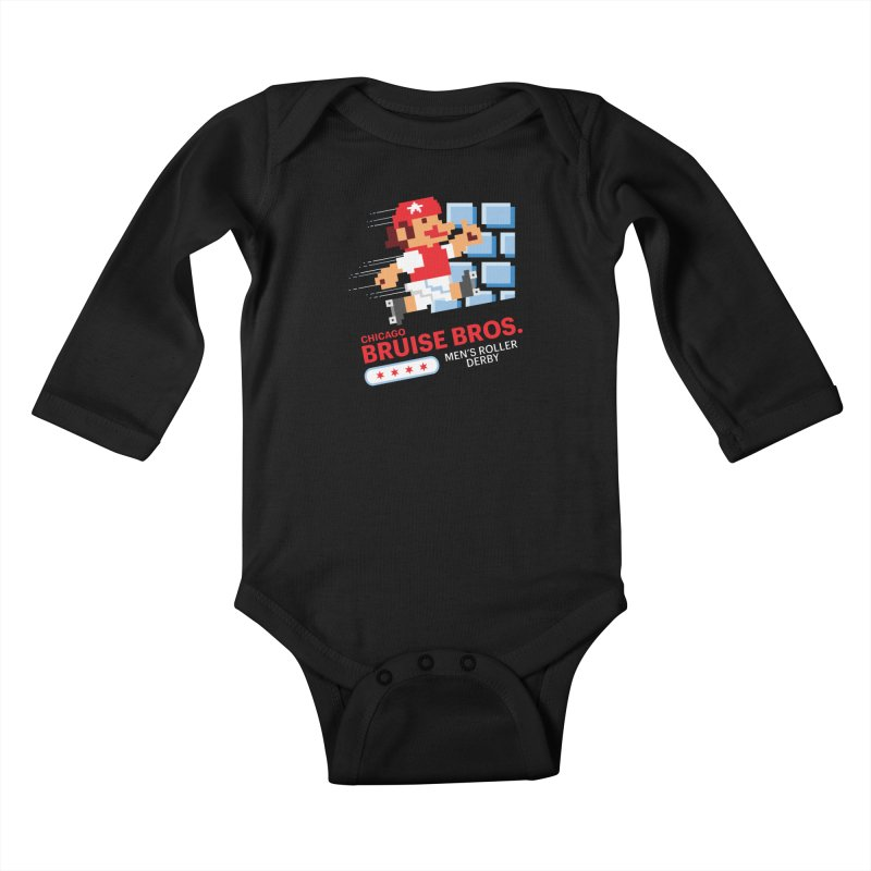 Super Bros. Kids Baby Longsleeve Bodysuit by Chicago Bruise Brothers Roller Derby