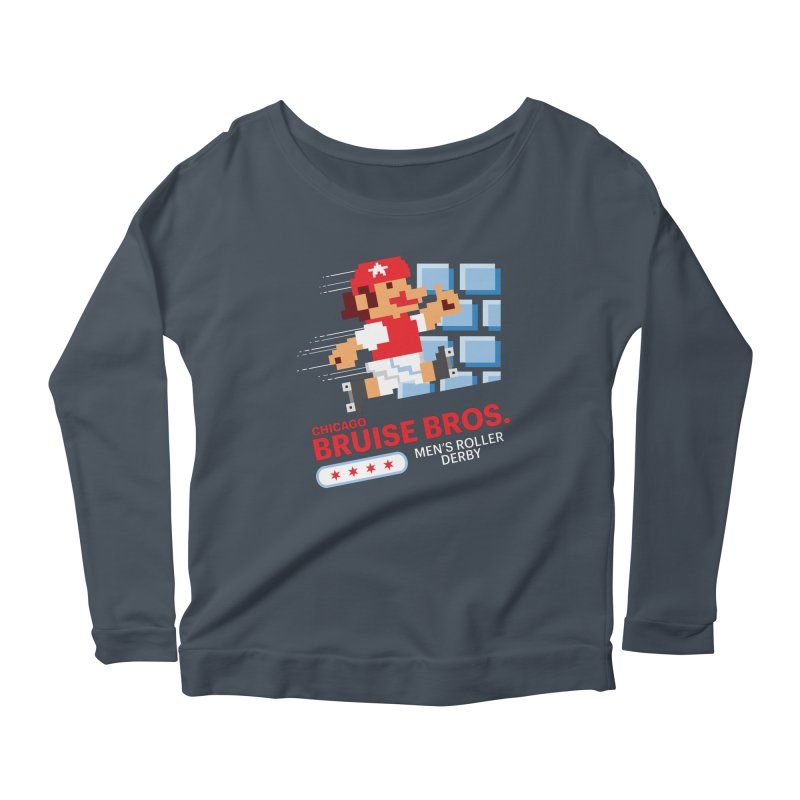 Super Bros. Women's Scoop Neck Longsleeve T-Shirt by Chicago Bruise Brothers Roller Derby