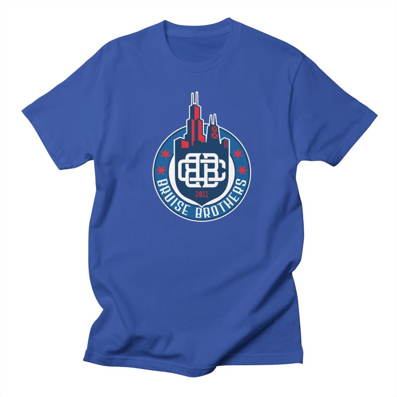 Chicago Bruise Brothers - Since 2011 in Men's Regular T-Shirt Royal Blue by Chicago Bruise Brothers Roller Derby