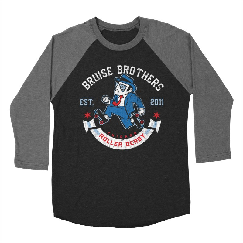 Old School Bruiser Men's Baseball Triblend Longsleeve T-Shirt by Chicago Bruise Brothers Roller Derby