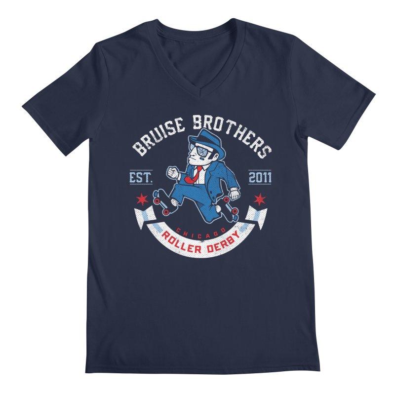 Old School Bruiser Men's Regular V-Neck by Chicago Bruise Brothers Roller Derby
