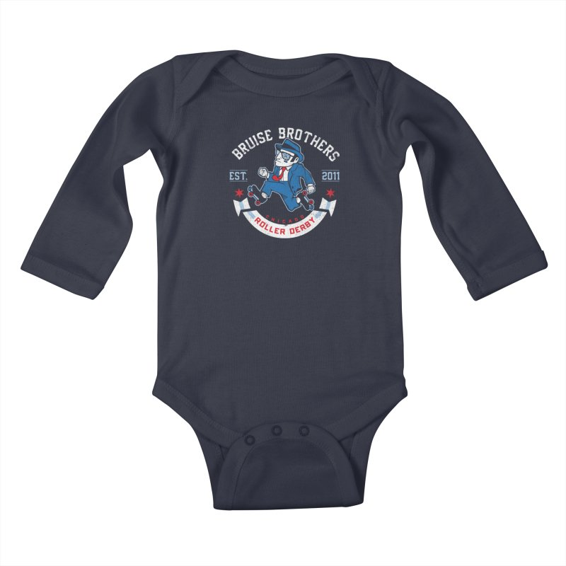 Old School Bruiser Kids Baby Longsleeve Bodysuit by Chicago Bruise Brothers Roller Derby