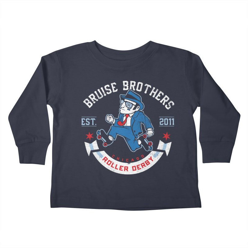 Old School Bruiser Kids Toddler Longsleeve T-Shirt by Chicago Bruise Brothers Roller Derby