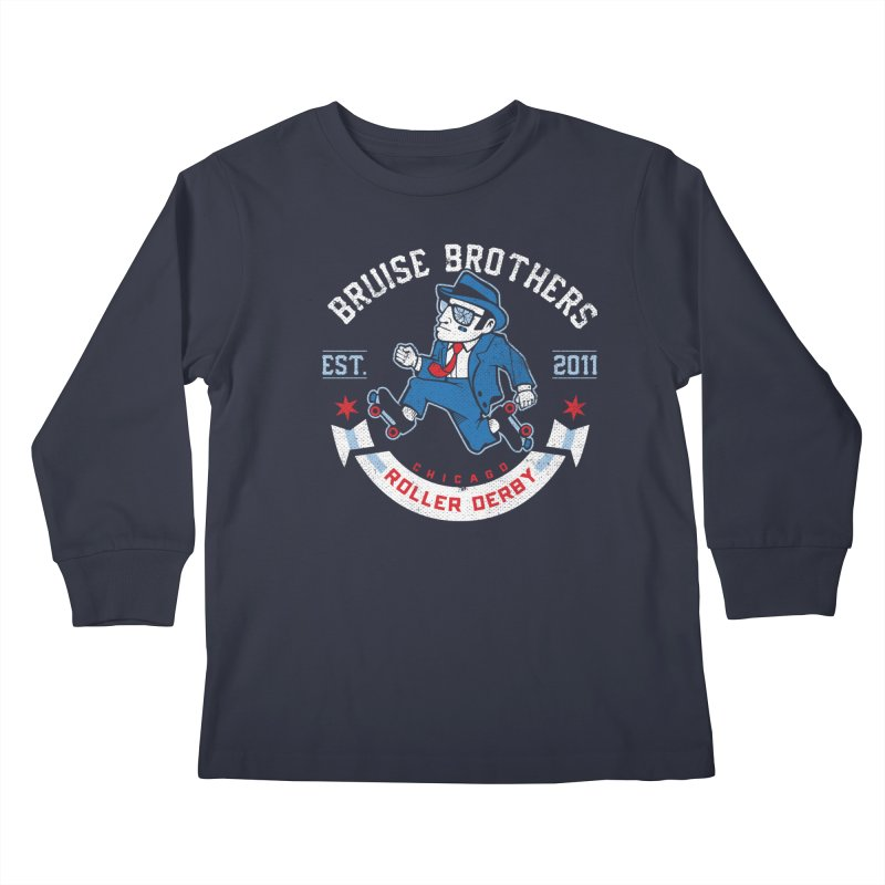 Old School Bruiser Kids Longsleeve T-Shirt by Chicago Bruise Brothers Roller Derby