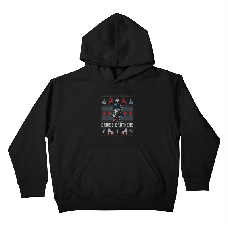 Bros Ugly Sweater Kids Pullover Hoody by Chicago Bruise Brothers Roller Derby