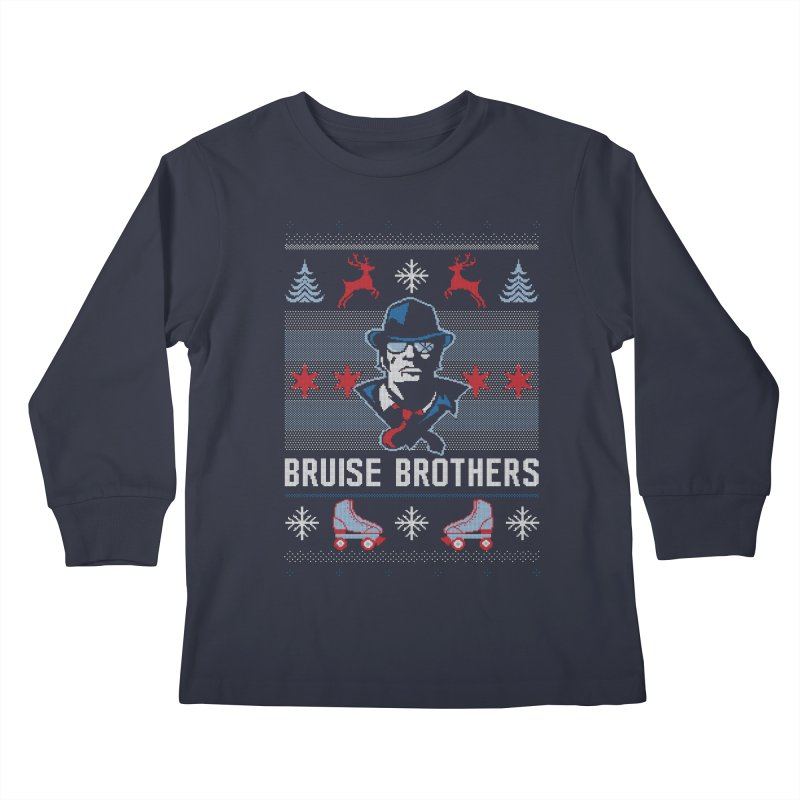 Bros Ugly Sweater Kids Longsleeve T-Shirt by Chicago Bruise Brothers Roller Derby