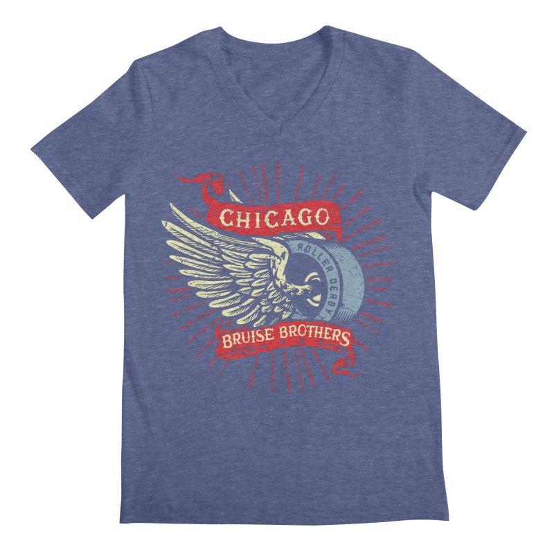 Heritage Design Men's Regular V-Neck by Chicago Bruise Brothers Roller Derby