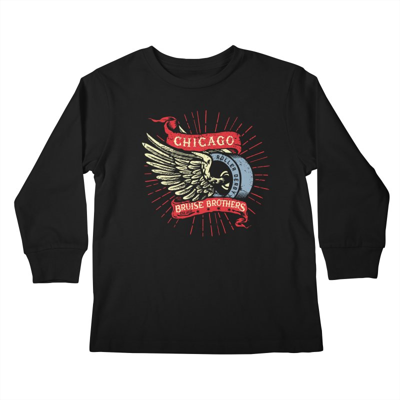 Heritage Design Kids Longsleeve T-Shirt by Chicago Bruise Brothers Roller Derby