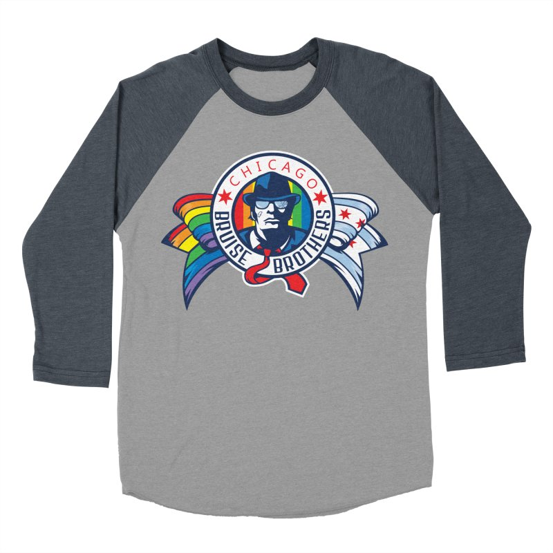 Pride Men's Baseball Triblend Longsleeve T-Shirt by Chicago Bruise Brothers Roller Derby
