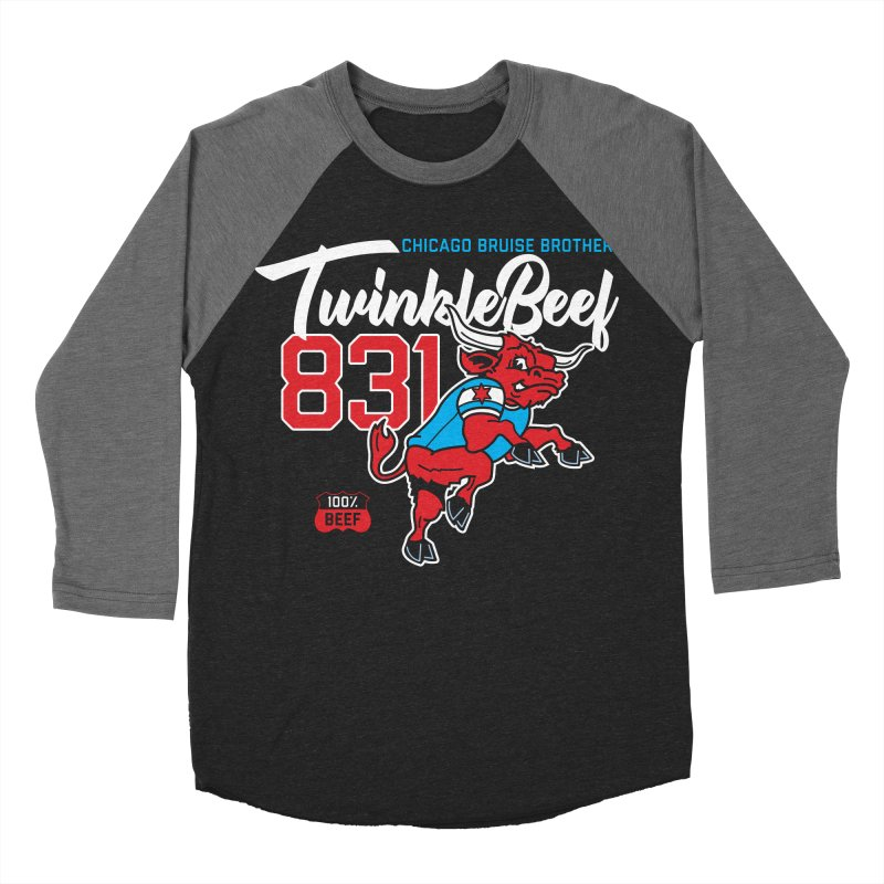 Skater Series: TwinkleBeef Men's Baseball Triblend Longsleeve T-Shirt by Chicago Bruise Brothers Roller Derby