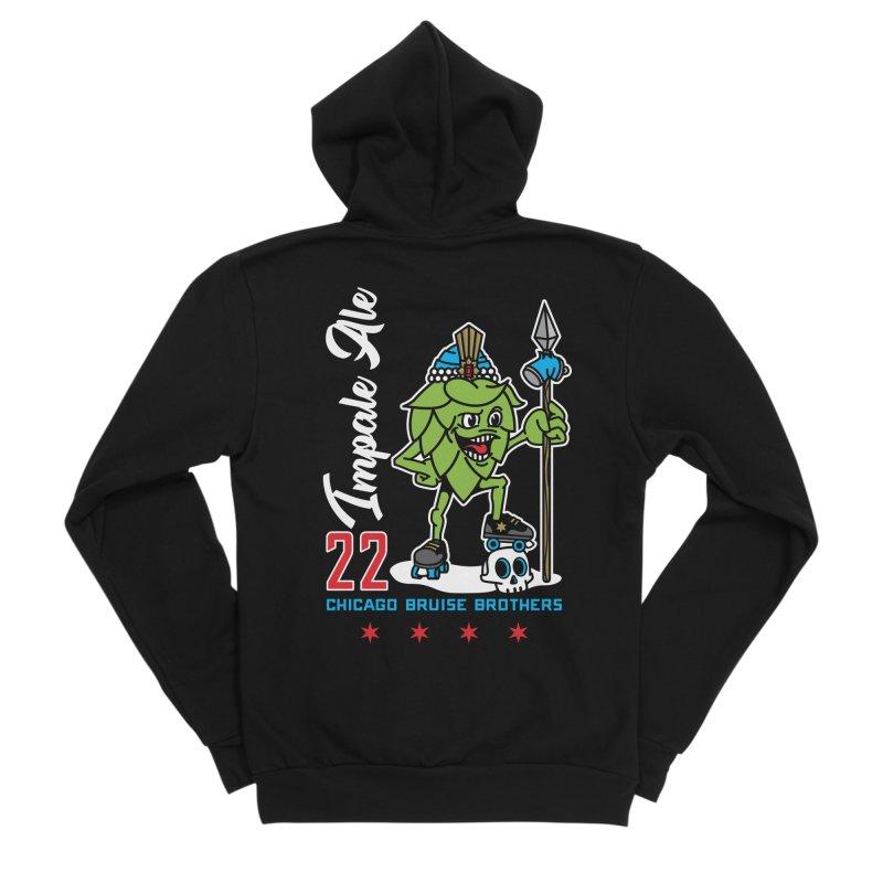 Skater Series: Impale Ale Men's Sponge Fleece Zip-Up Hoody by Chicago Bruise Brothers Roller Derby