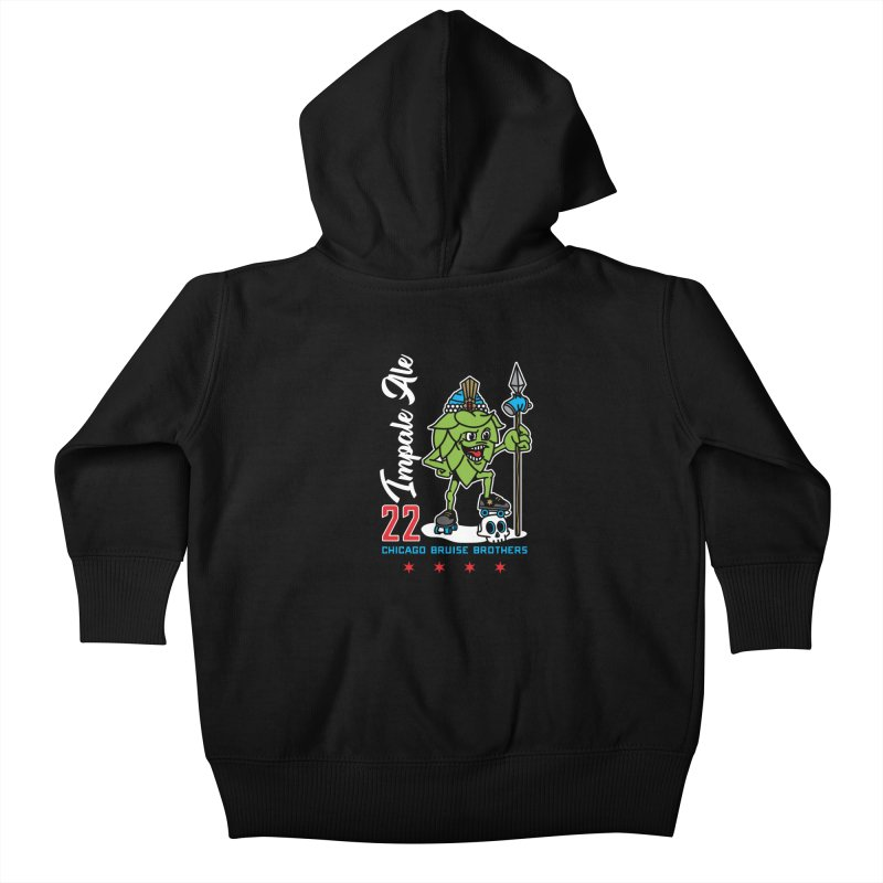 Skater Series: Impale Ale Kids Baby Zip-Up Hoody by Chicago Bruise Brothers Roller Derby