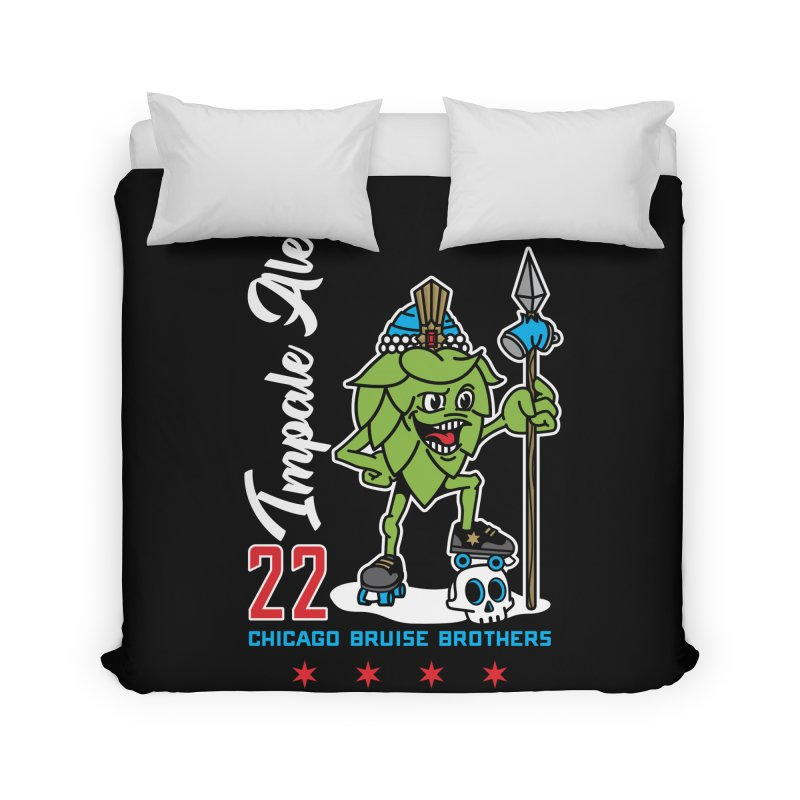 Skater Series: Impale Ale Home Duvet by Chicago Bruise Brothers Roller Derby