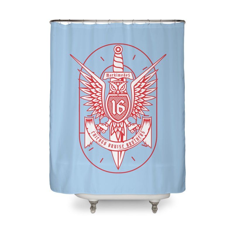 Skater Series: Markimedes Home Shower Curtain by Chicago Bruise Brothers Roller Derby