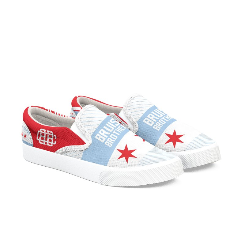 Red Stars, Blue Stripes Women's Slip-On Shoes by Chicago Bruise Brothers Roller Derby