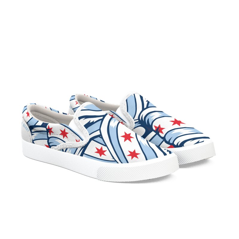 Chicago Flags in Men's Slip-On Shoes by Chicago Bruise Brothers Roller Derby