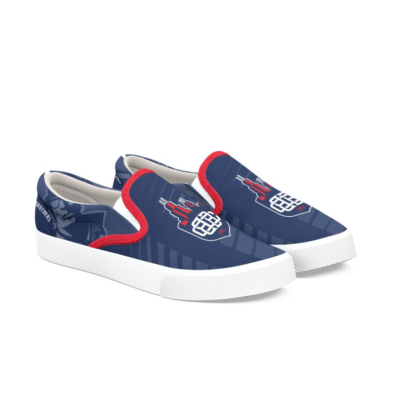 Navy with Crest Women's Slip-On Shoes by Chicago Bruise Brothers Roller Derby