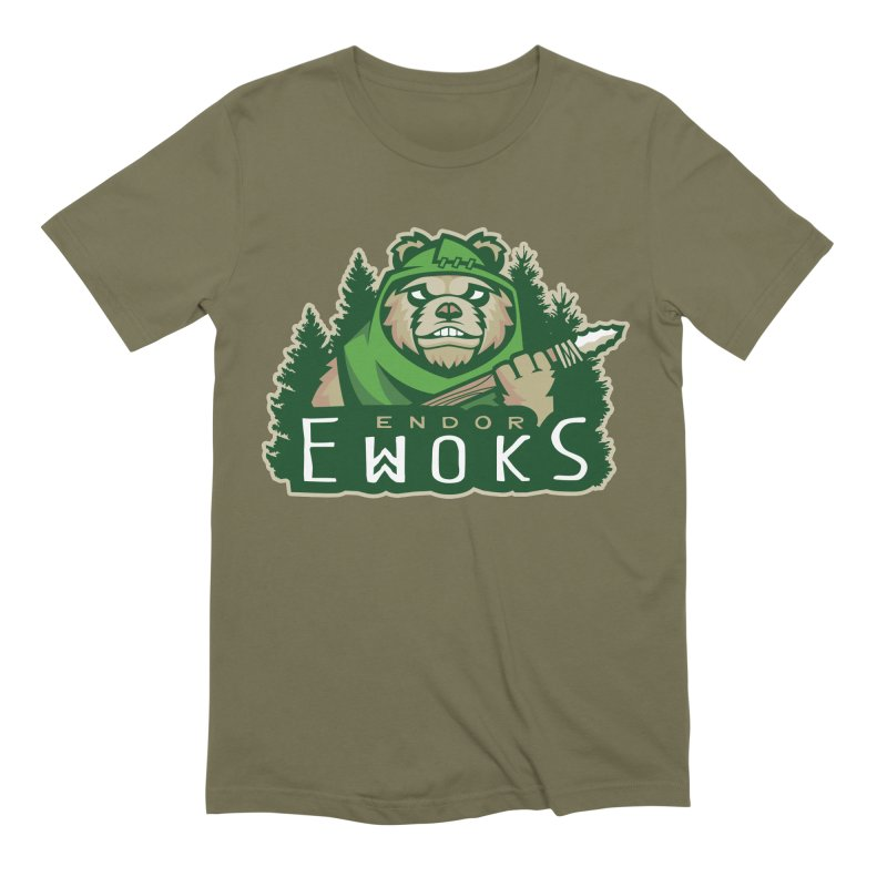 Endor Ewoks in Men's Extra Soft T-Shirt Olive by Chicago Bruise Brothers Roller Derby